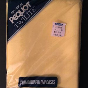 VTG Solid Yellow Pillowcases Pair In Orig Package